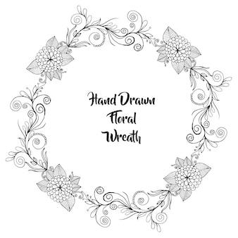 Grinalda floral em preto e branco desenhada mão
