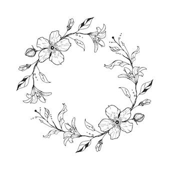 Grinalda floral fofa com lírios e flores. conceito de casamento.