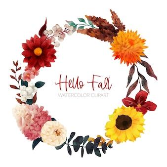 Grinalda floral outono, flores e folhas