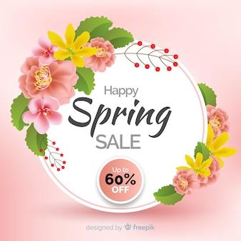 Grinalda floral realista primavera venda fundo