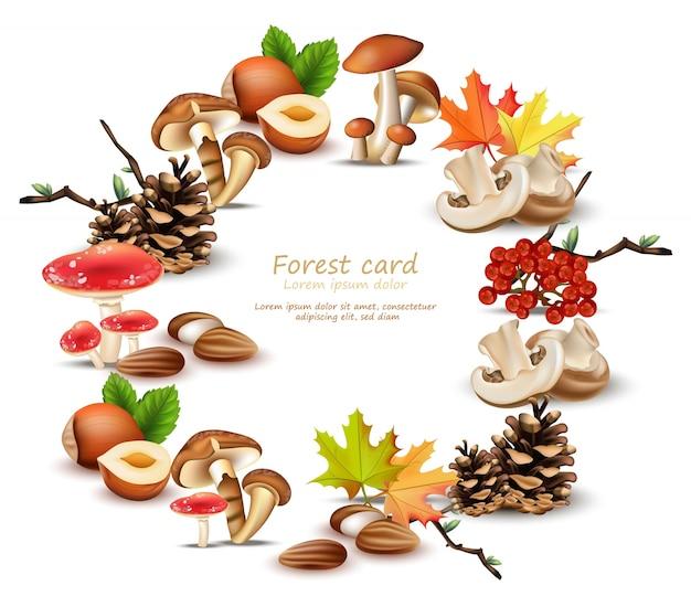 Grinalda florestal com cogumelos, nozes, folhas, pinheiro. outono fundos