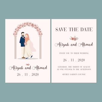Grinalda linda porta flor retrato casal muçulmano bonito convite casamento