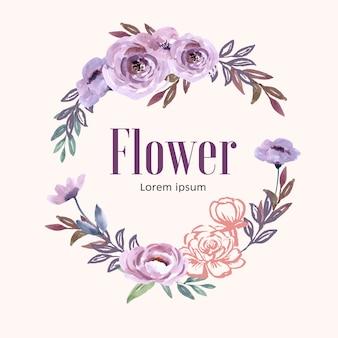 Grinalda para obras de arte criativa, flores de linha pastel suave