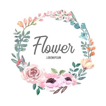 Grinalda para obras de arte criativa, flores de linha pastel