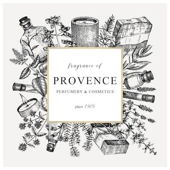 Grinalda quadrada de ervas da provença em estilo vintage desenho de plantas aromáticas e medicinais feitas à mão