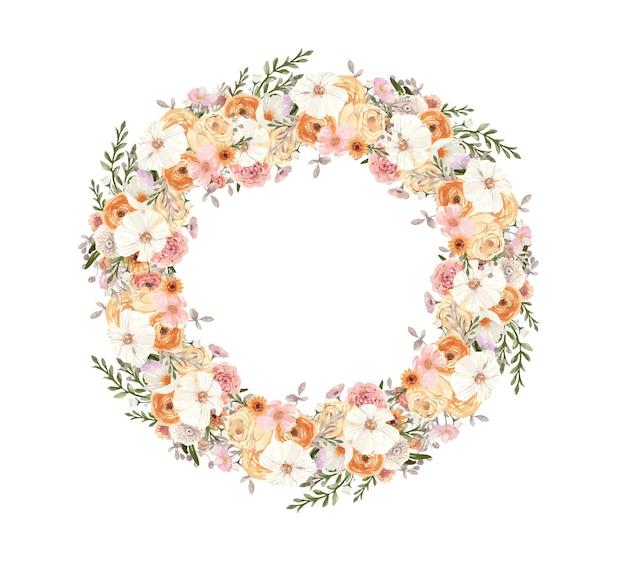 Grinalda redonda em aquarela com flores em aquarela de outono