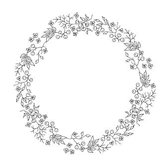 Grinalda redonda floral preta e branca desenhada à mão