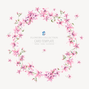Grinalda redonda floral vintage de vetor com flores cor de rosa