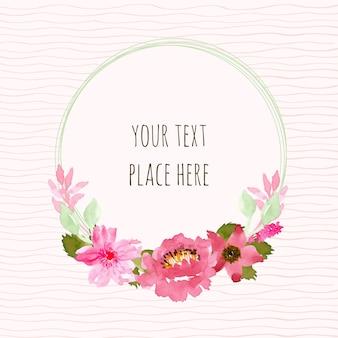 Grinalda rosa e verde floral com aquarela