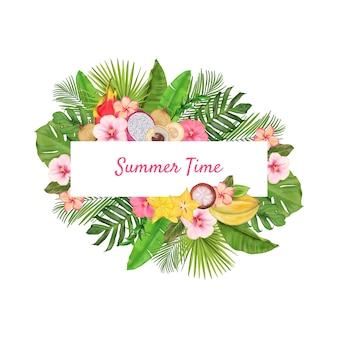 Grinalda tropical com frutas exóticas, flores, folhas