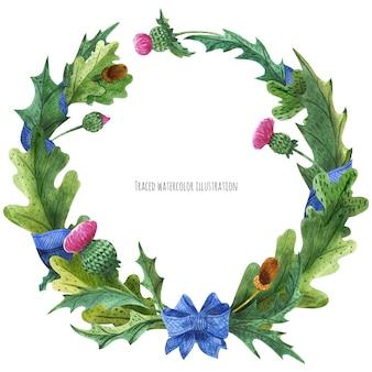 Grinaldas de cardo e folhas de carvalho com fita de seda azul