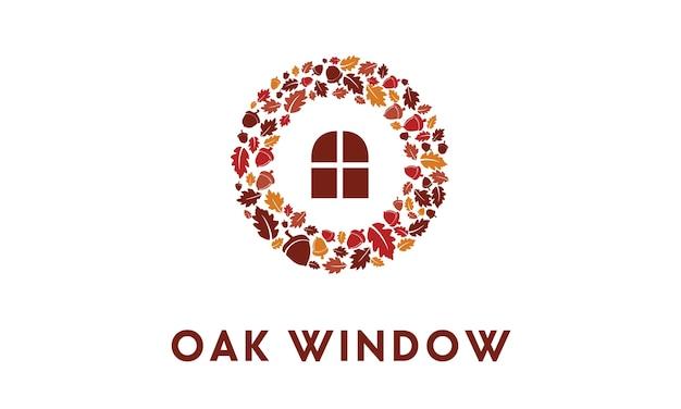 Grinaldas de carvalho com logotipo da janela