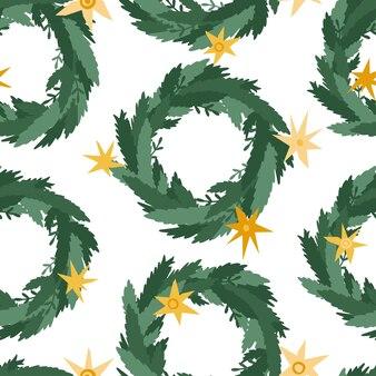 Grinaldas de decoração de natal de padrão sem emenda, ramos verdes, pinho, estrelas. coroa da porta. vector guirlanda de natal isolada no fundo branco