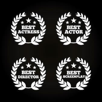 Grinaldas de folhas de atores prêmios conceito