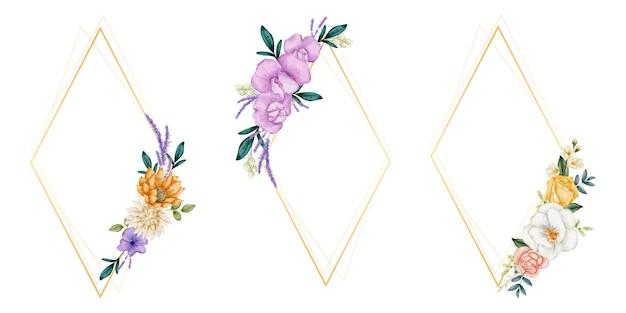 Grinaldas de quadro floral. conjunto de flores em aquarela de quadro.
