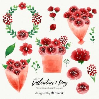 Grinaldas e buquês de flores em aquarela dia dos namorados