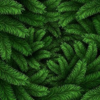 Grinaldas naturais de feliz natal realistas com galhos de pinheiro. guirlanda de abeto verde decorada com folhas de azevinho, bagas vermelhas e conjunto de vetores de bolas