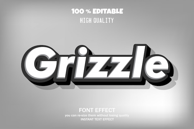 Grizzle texto, efeito de fonte editável