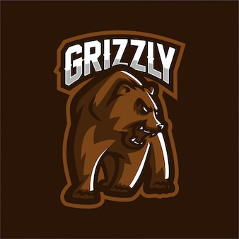 Grizzly bear esport jogo mascote logotipo modelo