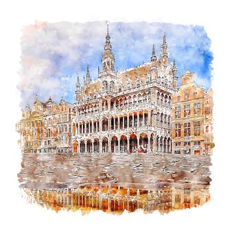 Grote markt brussel belgium esboço em aquarela desenhado à mão