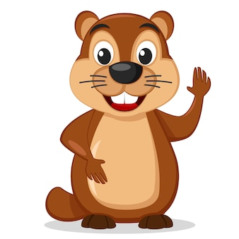 Groundhog fica em um branco e balançando a pata.