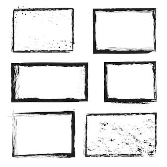 Grunge áspero angustiado tinta vetor fronteira quadros de imagem