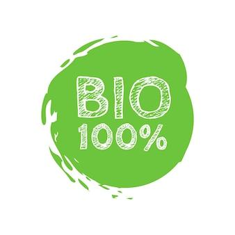 Grunge bio carimbo de borracha 100 por cento natural, ilustração vetorial.