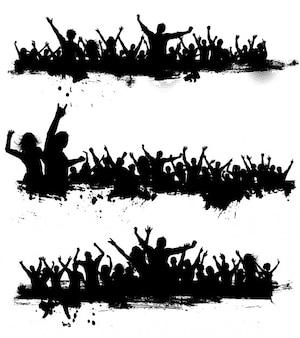 Grunge cenas de multidão