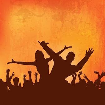 Grunge do fundo do partido multidão