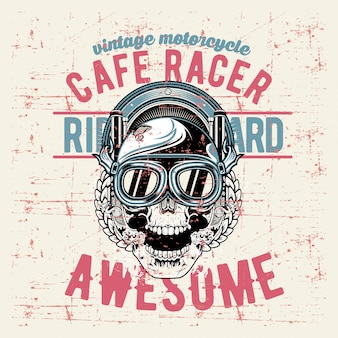 Grunge estilo vintage crânio café racer mão desenhando