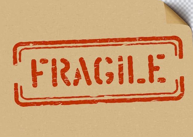 Grunge frágil em fundo de papelão para logística ou carga. significa que não esmague, manuseie com cuidado. sinal de caixa de ilustração vetorial com canto de papel ofício dobrado