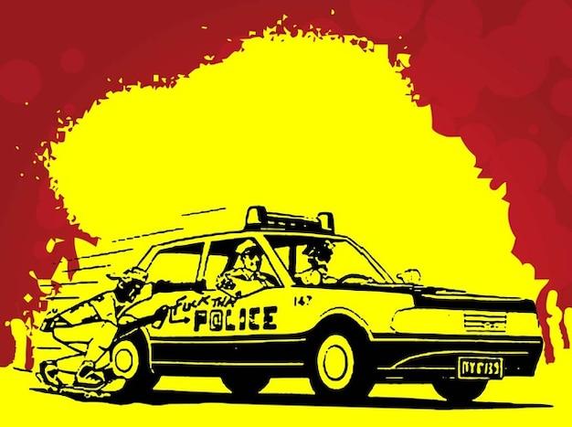 Grunge polícia carro de rua vetor do estilo