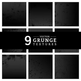 Grunge preto angustiado conjunto de textura