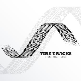 Grunge preto pneu trilhas no fundo branco