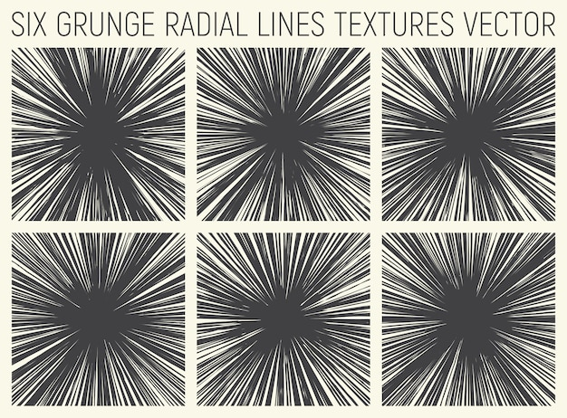 Grunge radial lines texturas vector set