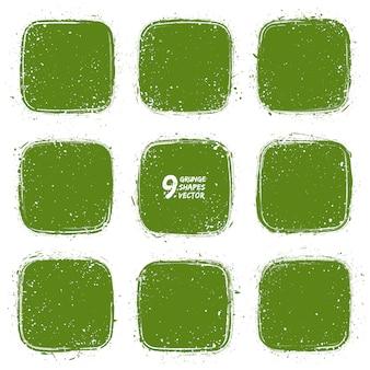 Grunge texturizado conjunto de vetor de formas verdes