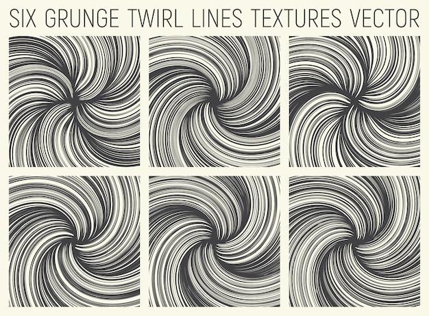 Grunge twirl linhas texturas vector
