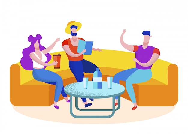Grupo amigos, turistas, visitando, café, lazer