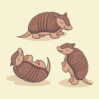 Grupo animal bonito dos desenhos animados do tatu