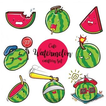 Grupo bonito dos desenhos animados da melancia, conceito do fruto dos desenhos animados.