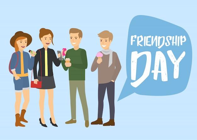 Grupo branco caucasiano de amigos adolescentes olhando para smartphone, comendo sorvete e rindo ilustração dos desenhos animados de vetor. adolescentes amigáveis rindo. amizade.