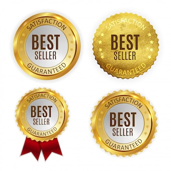 Grupo brilhante dourado da coleção do sinal da etiqueta do melhor vendedor.