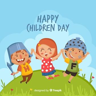Grupo colorido de crianças na ilustração do dia das crianças