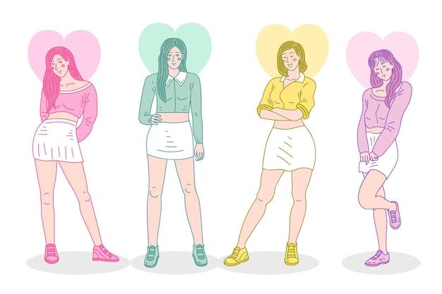 Grupo colorido de garotas de k-pop