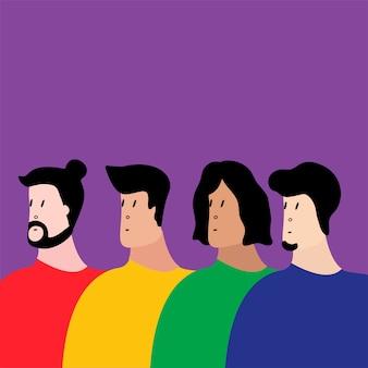 Grupo colorido de ilustração vetorial de pessoas