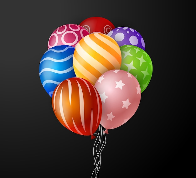 Grupo colorido realista de balões de aniversário voando para festa e celebrações com espaço para mensagem em fundo preto. ilustração