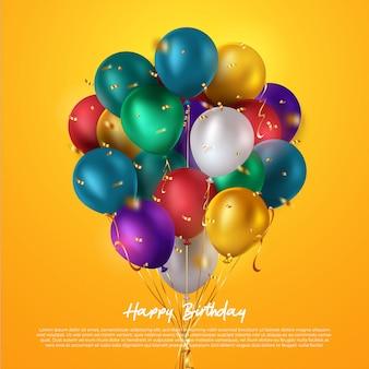 Grupo colorido realista de balões de aniversário voando para festa e comemorações com espaço para mensagem isolado no fundo branco. ilustração
