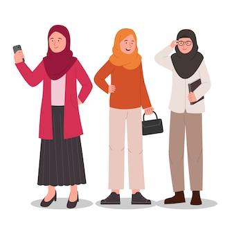 Grupo conjunto de personagem casual hijab garota