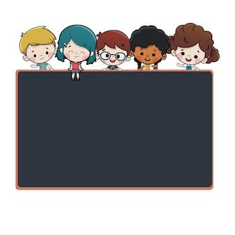 Grupo crianças, com, um, quadro-negro