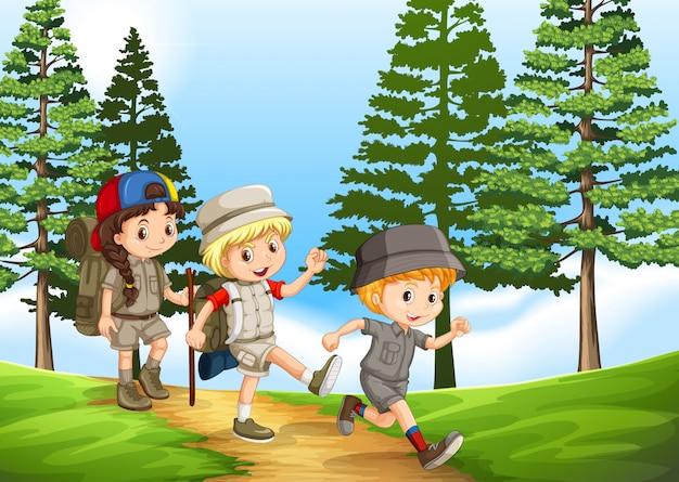 Grupo crianças, hiking, parque